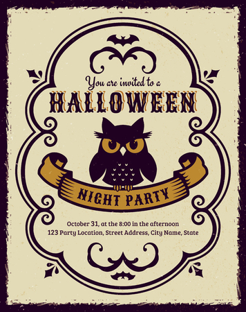 Invitation to Halloween night party. Vintage card with gloomy owl. Vector template. Illustration