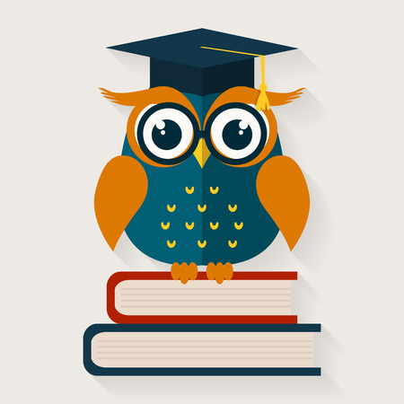 erudition: Back to school. Wise owl with books and graduate cap. Educational concept. Vector illustration. Flat design.