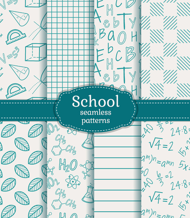 calculation: Back to school. Set of school and science seamless patterns in white and  blue colors. Vector illustration.