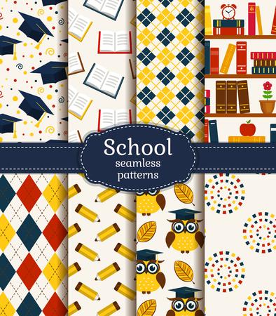 De vuelta a la escuela. colorido de la escuela y la graduación fondos transparentes. Colección de vector. Ilustración de vector