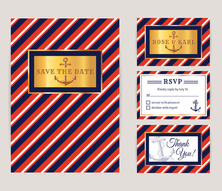 bridal party: Nautical wedding invitation cards. Sea theme bridal party. Collection of elegant banners in white, red, blue and gold colors. Vector set. Illustration