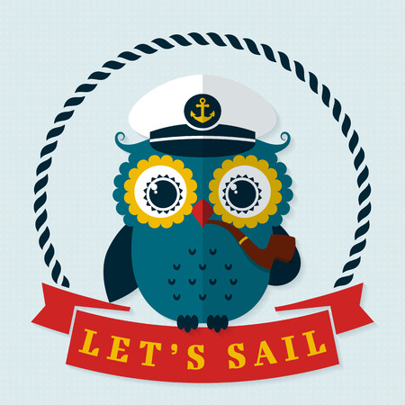 skipper: Lets sail! Card with pretty captain owl. Sea theme. Flat design with long shadow. Vector illustration. Illustration