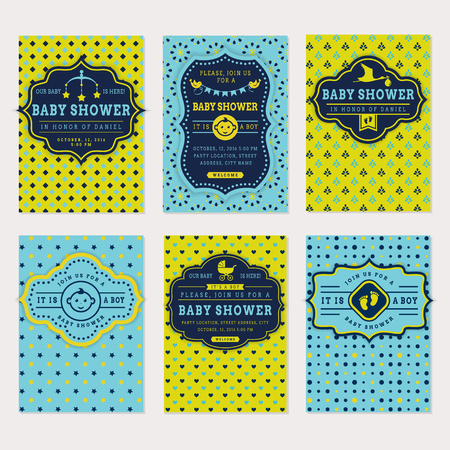 baby crib: Baby shower set. Cute invitation cards for boy baby shower party. Vector collection on green and blue colors.