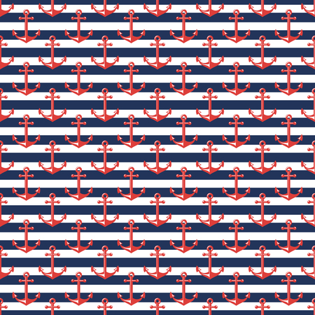 coastal: Seamless pattern with stripes and anchors. Nautical and sea travel themes. Vector background.