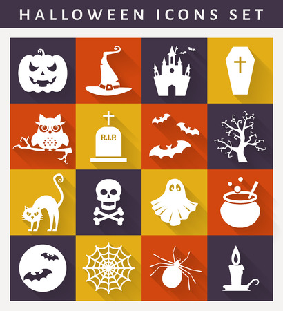 Halloween icons. Collection of white symbols on colored plates. Flat style with long shadows. Vector set.