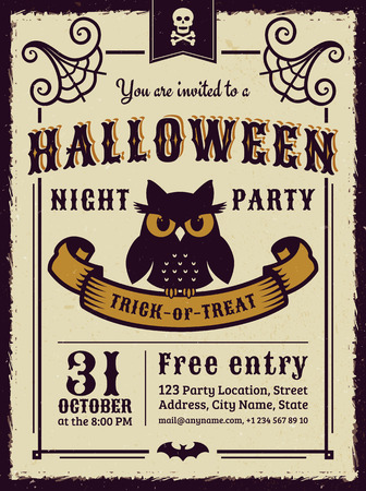gloomy: Invitation to Halloween night party. Vintage card with gloomy owl. Vector template. Illustration