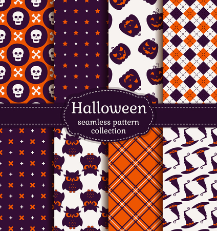 Happy Halloween! Set of seamless patterns with traditional holiday symbols: skulls, witch hats, evil owls and jack olanterns. Collection of vector backgrounds in purple, orange and white colors. Illustration