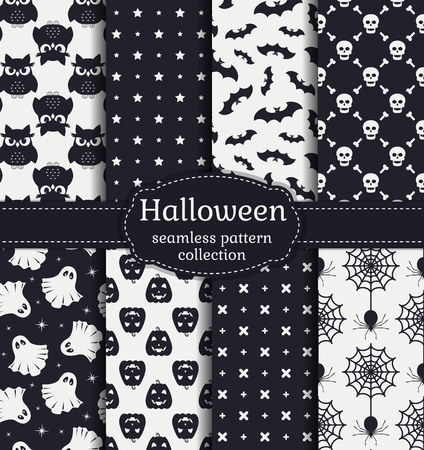 happy web: Happy Halloween! Set of seamless patterns with traditional holiday symbols: skulls, bats, pumpkins, ghosts, owls, spiders and web. Collection of backgrounds in black and white colors. Vector illustration.