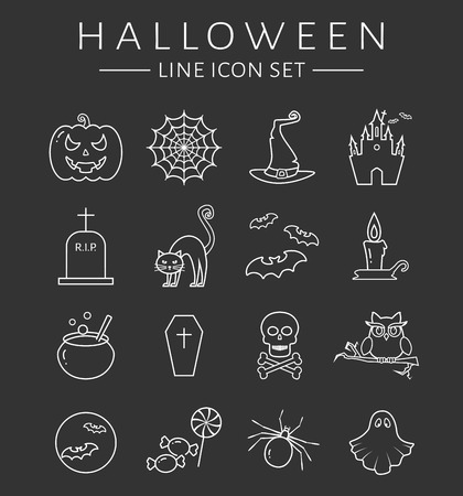 spectre: Set of halloween line icons. Collection of white outline symbols isolated on clear background. Vector illustration.