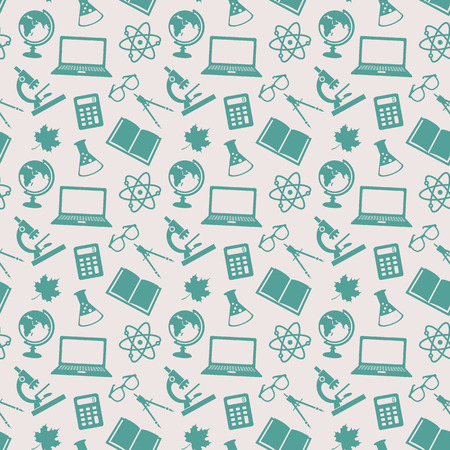 Back to school. Education seamless patterns with school icons. Vector background.