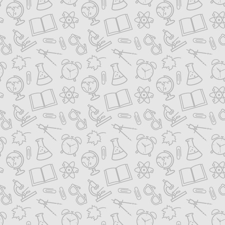 Back to school. Education seamless patterns with outline school symbols. Vector background.  イラスト・ベクター素材