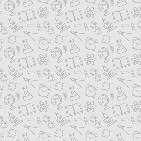 papeleria: De vuelta a la escuela. patrones de costura de educación con la escuela símbolos de esquema. Fondo del vector. Vectores