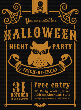 gloomy: Invitation to Halloween night party. Elegant vintage card with gloomy owl. Vector template in black and gold colors.