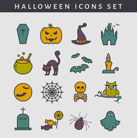 spectre: Set of colored Halloween icons with outline. Collection of cute symbols isolated on clear background. Vector illustration.