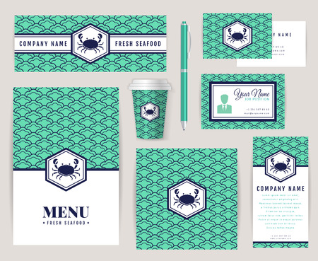 menu design: Set of corporate identity templates with crab icon. Seafood theme. Menu, id card, banners, coffee cup and business card. Creative branding design for restaurant or shop. Vector collection.