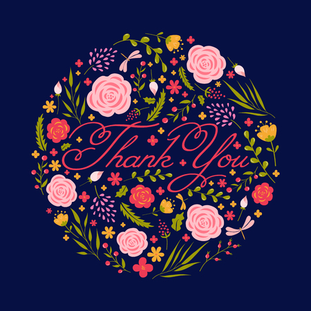 grateful: Thank you card with floral ornament. Vector illustration. Illustration