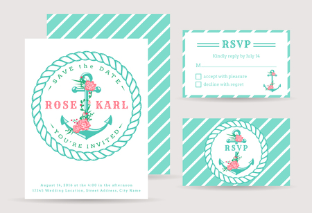 cute cards: Nautical wedding invitation cards. Sea theme wedding party. Cute template with anchor and flowers. Vector collection.