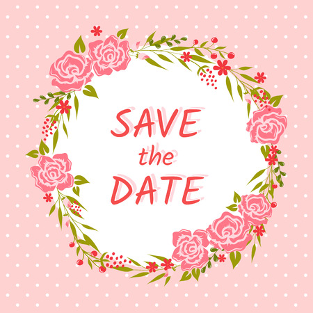 pink vintage: Save the Date card. Cute wedding invitation with floral wreath and polka dot background. Vector illustration.