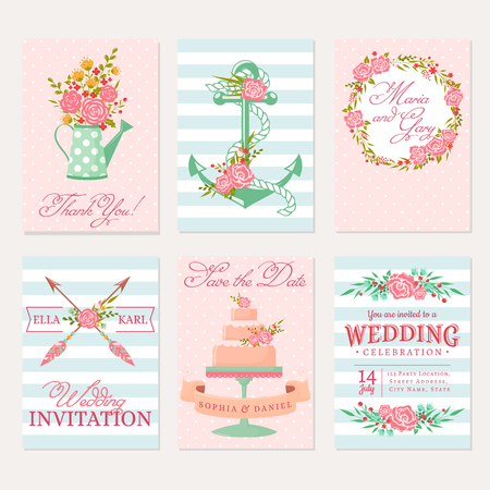 bunner: Set of wedding invitations. Elegant bunner templates in pink, blue and white colors. Cute cards with flowers. Vector romantic collection. Illustration