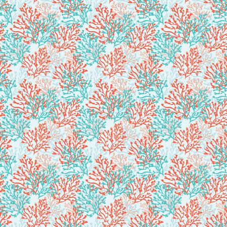赤と青のサンゴとのシームレスなパターン。海の背景。ベクトルの図。