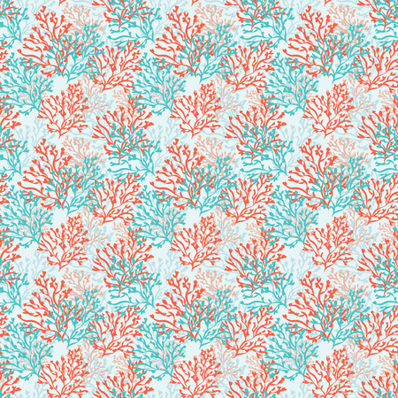 deepsea: Seamless pattern with red and blue corals. Sea background. Vector illustration.