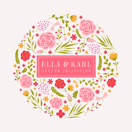 Wedding invitation template in white, pink, and green colors. Cute card with flowers. Vector illustration.