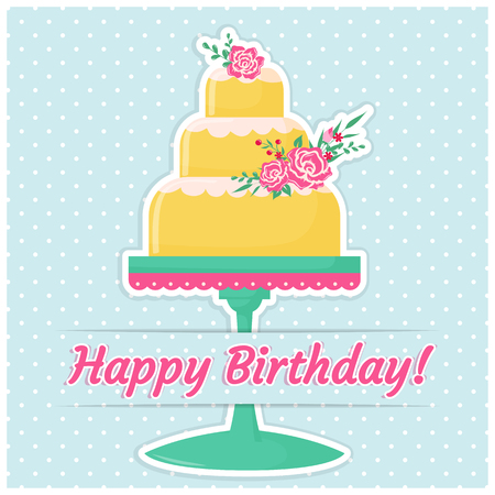 dessert stand: Happy Birthday! Greeting card with a cake decorated with cute flowers. Vector illustration. Illustration