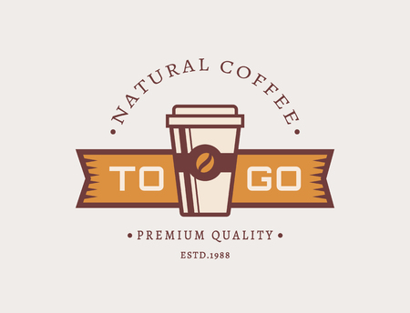 cafe shop: Coffee to go logo. Template in retro style for coffee shop or cafe. Logotype isolated on clean background. Vector concept badge. Illustration