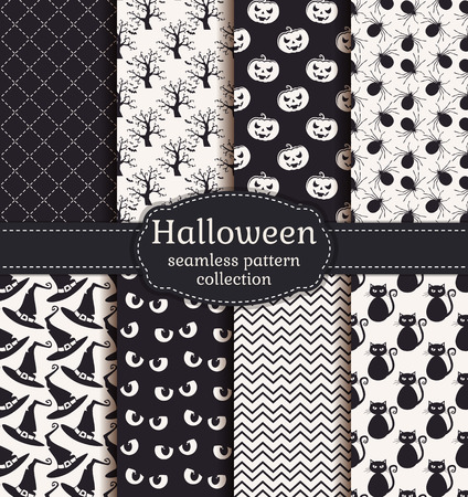 spook: Set of halloween backgrounds. Collection of seamless patterns in black and white colors. Vector illustration.