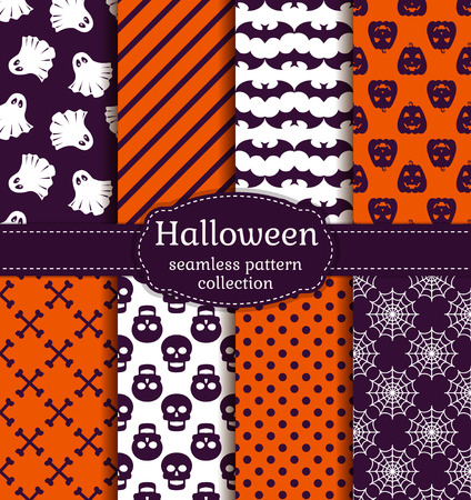 Happy Halloween! Set of seamless patterns with traditional holiday symbols: pumpkins, skulls, ghosts, bats and web. Collection of vector backgrounds in purple, orange and white colors.