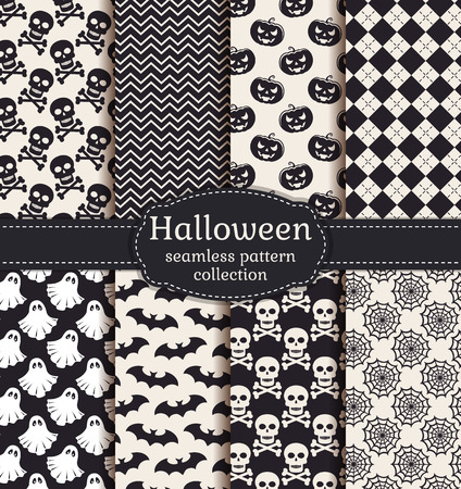 spectre: Set of halloween backgrounds. Collection of seamless patterns in black and white colors. Vector illustration.