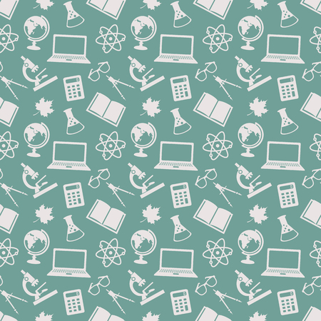 school icon: Back to school. Education seamless patterns with school icons. Vector background.