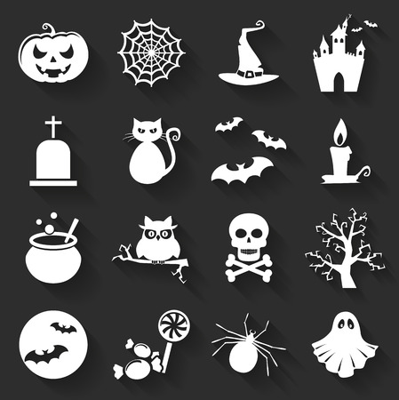 spectre: Set of halloween icons. Collection of flat symbols with long shadows. Vector illustration.