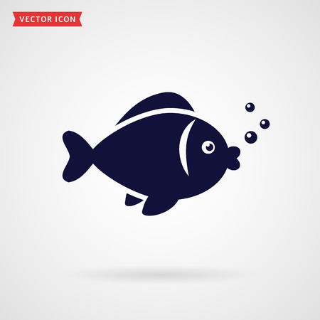 deepsea: Fish icon isolated on white background. Vector illustration. Illustration