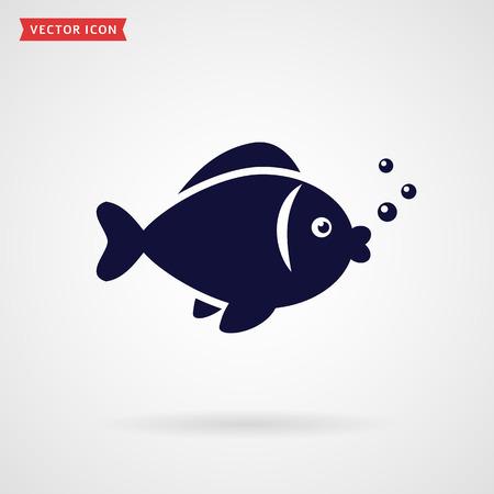 deepsea: Fish icon isolated on white background. Vector illustration. Illustration