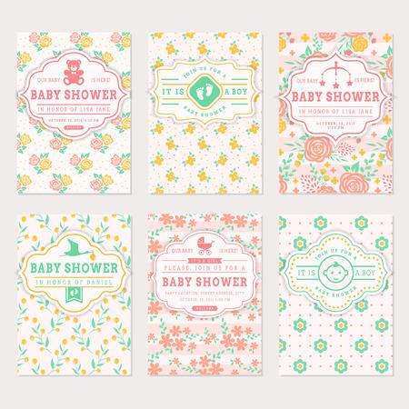 sistema de la ducha del bebé. tarjetas de invitación lindos con los fondos florales. Colección del vector en colores pastel.