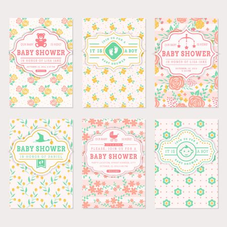 cute cards: Baby shower set. Cute invitation cards with floral backgrounds. Vector collection in pastel colors. Illustration