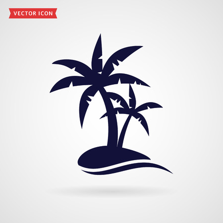 Palm tree icon isolated on white background. Tropical beach and travel themes. Vector illustration. Çizim