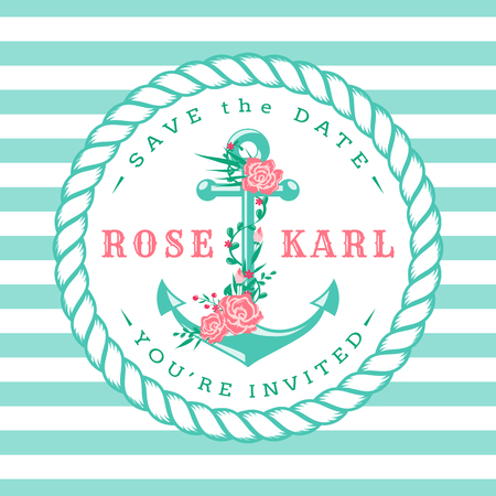 blue stripes: Nautical wedding invitation card. Cute template with anchor, flowers and striped background. Vector illustration.