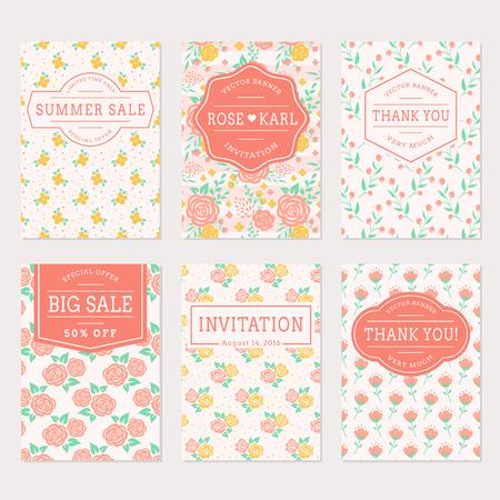 collection: Conjunto de banderas lindo con el fondo floral. invitaciones de la boda, gracias las tarjetas y etiquetas de venta. Vector colección de las plantillas en colores blanco, rosa, amarillo y turquesa.