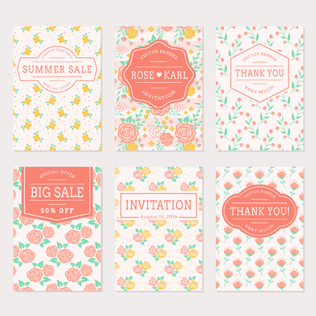spring sale: Set of cute banners with floral background. Wedding invitations, thank you cards and sale labels. Vector templates collection in white, pink, yellow and turquoise colors.