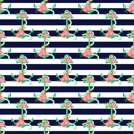 striped background: Seamless pattern with anchors and flowers. Striped background. Vector illustration.