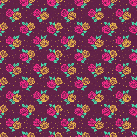 Floral pattern in retro style. Seamless background with cute hand drawn flowers. Vector illustration. Illustration