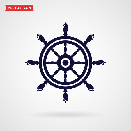 steering wheel: Ship steering wheel icon isolated on white background. Sea travel, navigation or direction concept symbol. Vector illustration.