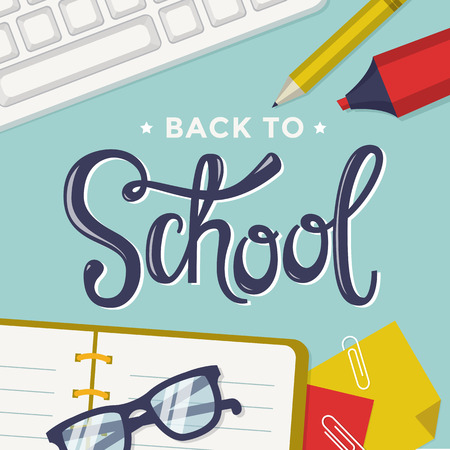 copybook: Back to school. Vector background with students items and lettering.
