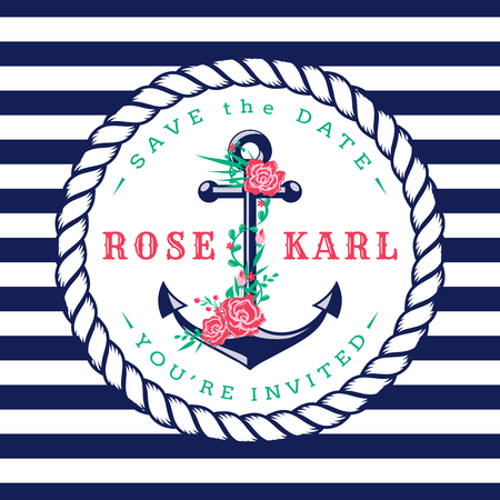 Nautical wedding invitation card. Cute template with anchor, flowers and striped background. Vector illustration.