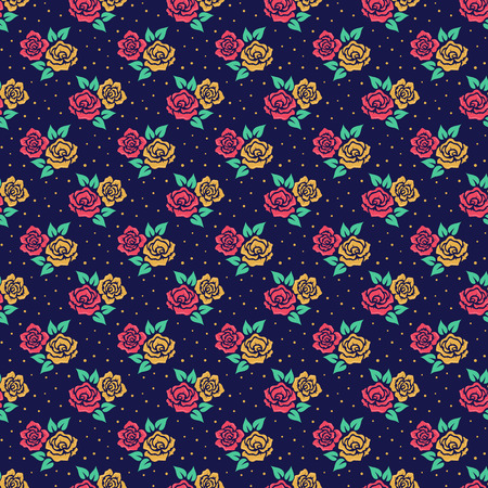 gold floral: Floral pattern in retro style. Seamless background with cute hand drawn flowers. Vector illustration. Illustration