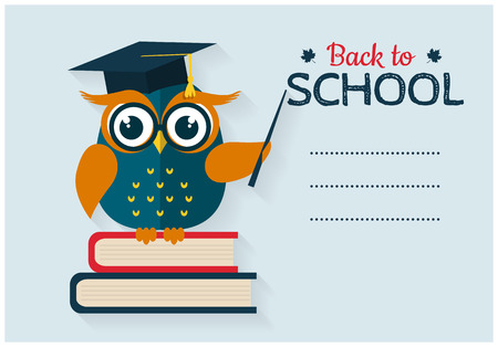 text books: Back to school. Vector card with place for text. Wise owl with books and graduate cap. Flat design.
