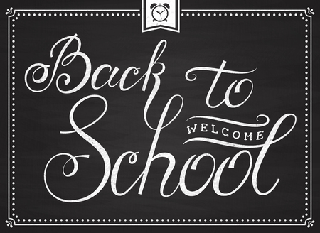 Welcome Back to School! Banner with hand lettering on chalkboard. Trendy typography card. Vector illustration. Vector Illustration