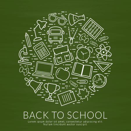 Back to school banner. Vector chalkboard background with education line icons and place for text.